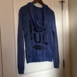 soulcycle Sweaters - Soulcycle Distressed Blue Zip Up Sweater